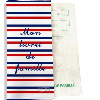 Protège livret de famille Rayures rouges et bleues Collection Française