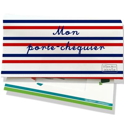 Porte-chéquier Rayures Bleues et rouges Collection Française