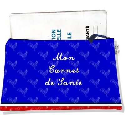 Protège carnet de santé zippé Bleu Collection Française