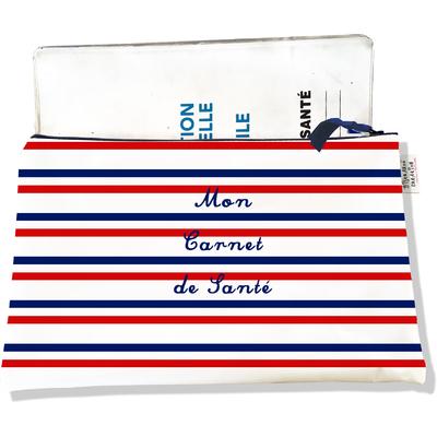Protège carnet de santé zippé Rayures rouges et bleues Collection Française