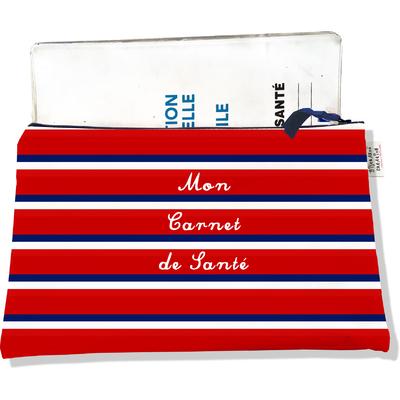 Protège carnet de santé zippé Bandes rouges Collection Française