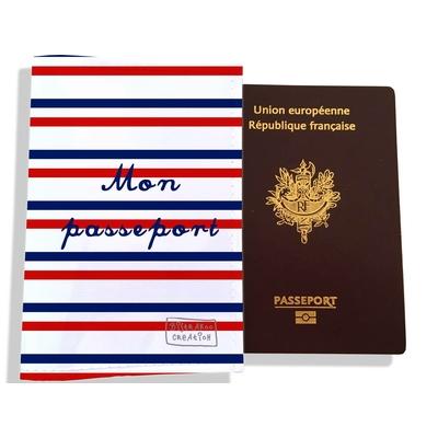 Protège passeport Rayures bleues et rouges Collection Française