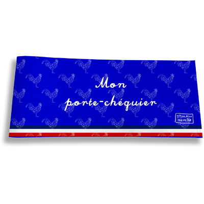 Porte-chéquier long horizontal Bleu Collection Française