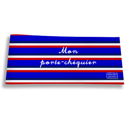 Porte-chéquier long horizontal Bandes bleues Collection Française