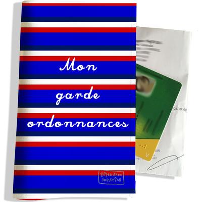 Porte ordonnance et carte vitale Bandes bleues Collection Française