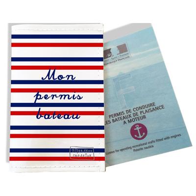 Porte permis bateau Rayures bleues et rouges Collection Française