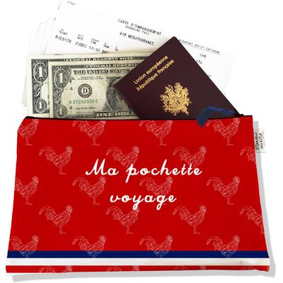 Pochette voyage, porte documents rouge Collection Française