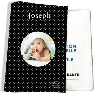 Protège carnet de santé personnalisé pour bébé garçon motif Pois