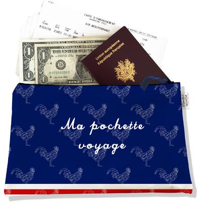 Pochette voyage, porte documents bleu marine Collection Française