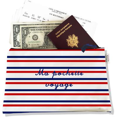 Pochette voyage, porte documents Rayures bleues et rouges Collection Française