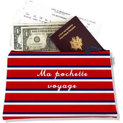 Pochette voyage, porte documents Bandes rouges Collection Française