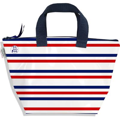 Petit sac à main zippé Rayures bleues et rouges Collection Française