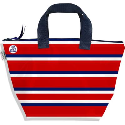Petit sac à main zippé bandes rouges Collection Française