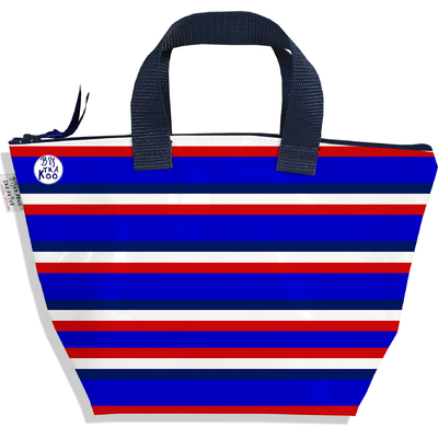 Petit sac à main zippé bandes bleues Collection Française