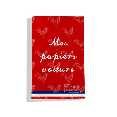 Porte-papiers de voiture Rouge Collection Française