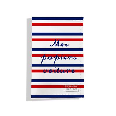 Porte-papiers de voiture Rayures bleues et rouges Collection Française