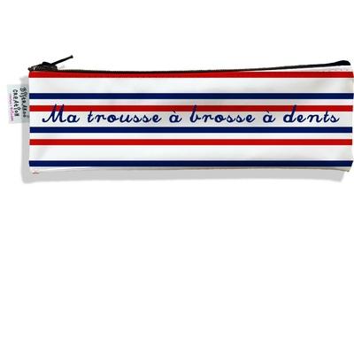 Trousse à brosse à dents Rayures bleues et rouges Collection Française