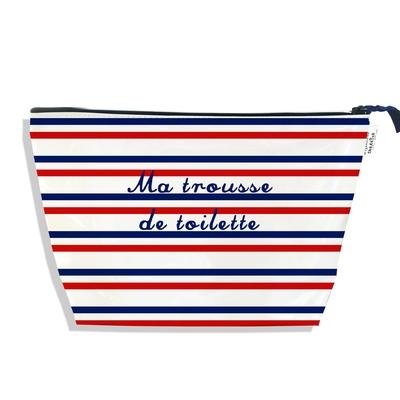 Trousse de toilette Rayures rouges et bleues Collection Française