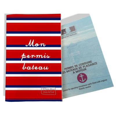 Porte permis bateau Bandes rouges Collection Française