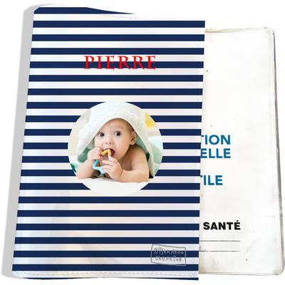 Protège carnet de santé personnalisé pour bébé garçon motif Marinière