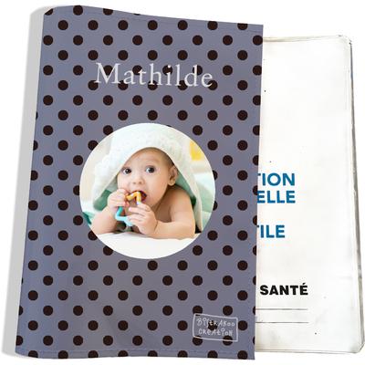 Protège carnet de santé personnalisé pour bébé fille motif Pois