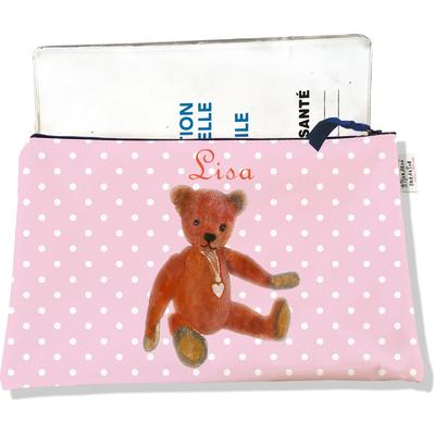 Protège carnet de santé personnalisé zippé pour bébé fille motif Ours