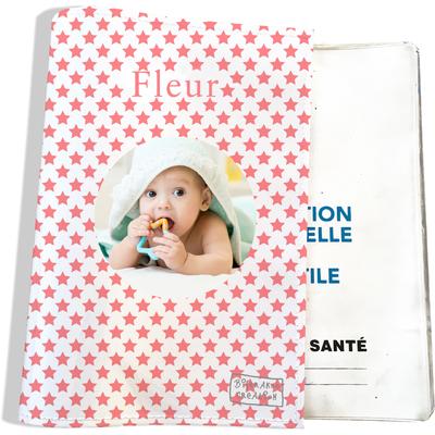 Protège carnet de santé personnalisé pour bébé fille motif Etoiles