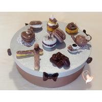 Boîte à biscuits ou dosettes café, gris taupe - au coeur des arts