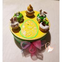 Boîte à biscuits ou chocolats, jaune et verte - au cœur des arts