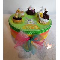 Boîte à biscuits ou chocolats, verte et jaune - au cœur des arts