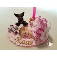 Porte bougie anniversaire bébé fille et son chien - au coeur des arts
