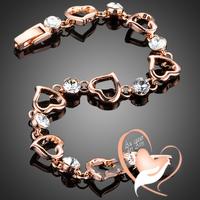Bracelet Cœur PLAQUE OR ROSE, orné de strass swarovsky - au coeur des arts