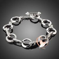 Bracelet anneaux cristal Swarovski plaqué or blanc - au coeur des arts