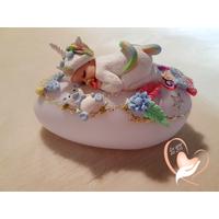 Veilleuse galet lumineux bébé Licorne - au coeur des arts