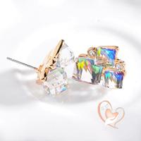 Boucles d'oreille cristal 3 cubes multi-color - au coeur des arts