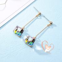 Boucles d'oreille cristal longues cubes multi-color - au coeur des arts