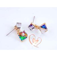 Boucles d'oreille cristal  cubes multi-color - au cœur des arts