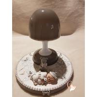 Veilleuse lampe lumineuse sur socle en bois bebe garçon - au coeur des arts