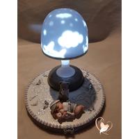 108-au coeur des arts-Veilleuse lampe lumineuse sur socle en bois bebe garçon