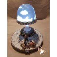 Lampe de chevet Veilleuse lumineuse sur socle en bois bébé fille- au coeur des arts