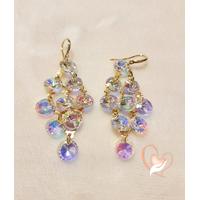Boucles d'oreille multi perles swarovski plaquées or - au coeur des arts