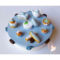 Boîte à gâteaux ou dosettes café, bleue et blanche