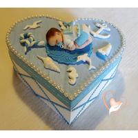 Boîte de naissance bleue ciel et blanche, bébé garçon marin