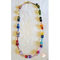 Collier perles polaris multicolore - plaqué or