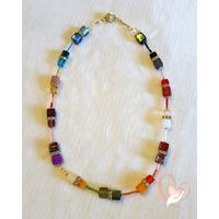 Collier perles polaris multicolore plaqué or
