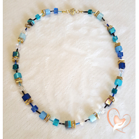 Collier perles polaris dégradé de bleu