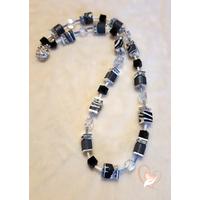 Collier perles polaris noires et grises - argent