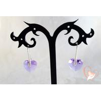 Boucles d'oreille coeur Lilas argent- au coeur des arts