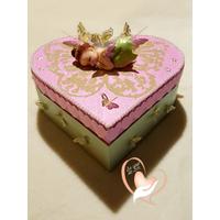 Boîte de naissance rose et verte fée clochette- au coeur des arts