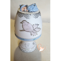 Lampe de chevet blanche bébé garçon bleu - au cœur des arts